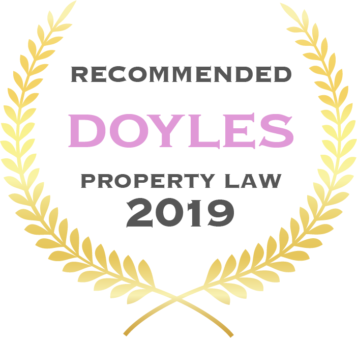 Badge with gold leaves saying Recommended Doyles Property Law 2019
