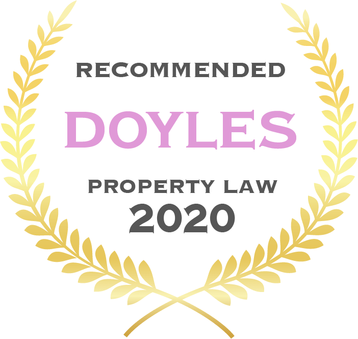 Badge with gold leaves saying Recommended Doyles Property Law 2020